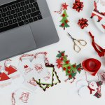 Laptop and Christmas gift tags